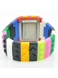 Rainbow Toy Building Blocks Silicone Digital LED Wrist Watch