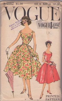 MOMSPatterns Vintage Sewing Patterns - Vogue 4882 Vintage 50's Sewing Pattern STUNNING Special Design Rockabilly Full Pleated Skirt Cocktail Party Dress, Evening Gown, Bateau Neck with Strap Interest
