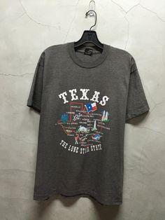 vintage t shirt 80s Texas dark heather grey by imtryingtofocus