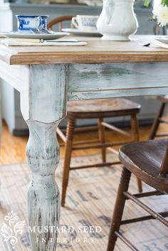 making new wood look old | miss mustard seed | distressing furniture | milk paint | antiquing wax | ironstone | lucketts green Country Furniture, Distressed Furniture, Cheap Furniture, Furniture Decor, Living Room Furniture, Modern Furniture, Antique Furniture, Outdoor Furniture, Furniture Design