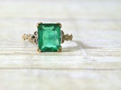 antique emerald ring by experimentalvintage on Etsy