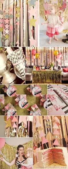 pink, gold, black and white stripes party via visual vocabulary First Birthday Parties, Girl Birthday, First Birthdays, Birthday Ideas, Happy Birthday, Pink Gold Party, Pink Sparkly, Black Party, Golden Birthday