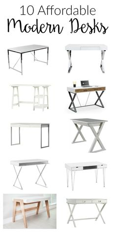 10 amazing options for affordable modern desks! These choices are perfect for creating a sleek, modern style home office on a budget!