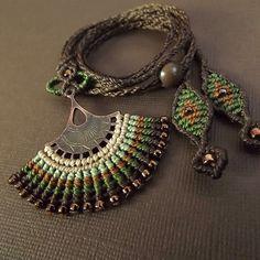 Macrame Necklace, Fan Necklace, Boho Necklace, Brown Necklace by neferknots on Etsy