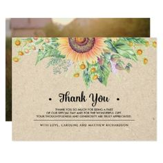 Rustic Sunflower Thank You Wedding Photo Cards - wedding invitations diy cyo special idea personalize card
