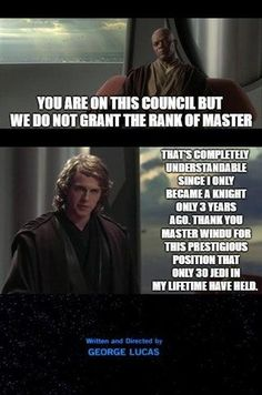 Memes of the Star Wars Prequels. Star Wars Jokes, Star Wars Facts, Love Memes, Funny Memes, Hilarious, Prequel Memes, Love Stars, Clone Wars, Anakin Skywalker