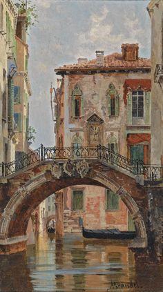 pintoras:Antonietta Brandeis (Czech, 1848 - 1926): A Bridge over a Venetian Canal (via Sotheby's)