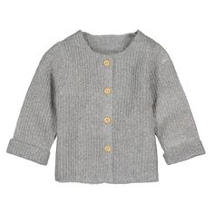 Fine knit buttoned cardigan, 3 months-4 years grey marl La Redoute Collections | La Redoute Knitted Baby Cardigan, Hand Knitted Sweaters, Baby Size, 3 Months, Baby Knitting, Lana, Gray Color, Vest, Grey