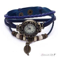 PU Leder Armbanduhr  Vintage Blatt  blau  im Organza Beutel