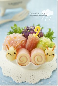 Cute Snail Twins Kyaraben Bento by Naohaha (Ham, Cheese, Mashed Potato, Fried Pasta and Nori)