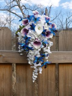 Purple blue dendrobium orchid bouquet hydrangeas by DressMyWedding