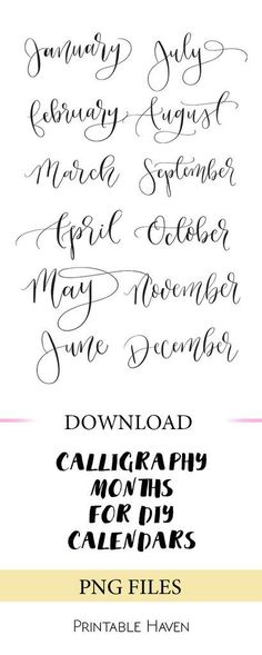 PNG files for calendars. January - December. Perfect for DIY projects + templates. Instant download.