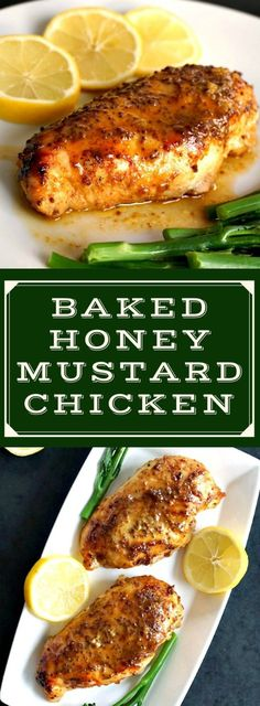 Baked honey mustard chicken breast with touch of lemon, a healhty, low-carb recipe that is tasty and so easy to make. Ideal meal for two for Valentine's Day or any other celebration.