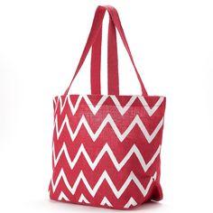 Jute Bags Viola Chevron Jute Shopper, Pink