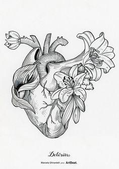 Ilustração coração da artista brasileira Marcela Ghirardelli;