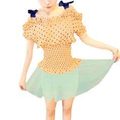 Allegra K Lady Short Sleeve Dots Flounced Upper Smocked Waist Blouse Light Orange XS Allegra K. $9.78