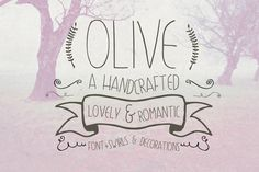 Olive Hand Drawn Font + Decorations by Pixelogical on Creative Market