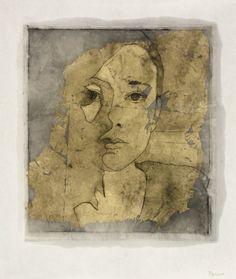 Alexandre Masino Je touche au monde IV  2014 Intaglio, gold leaf & encaustic monoprint on Kozo paper 12.5 x 10.5 inches