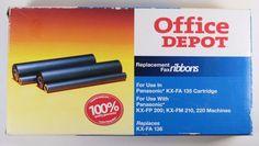 Office Depot Fax Ribbon KX FA 136 Item 775 141 Replacement Panasonic Black