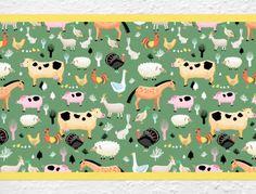 Bauernhoftiere als Kinderzimmer Bordüre