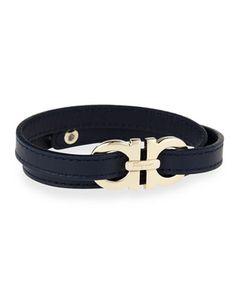Men\'s Gancini Leather Wrap Bracelet, Navy by Salvatore Ferragamo at Bergdorf Goodman.