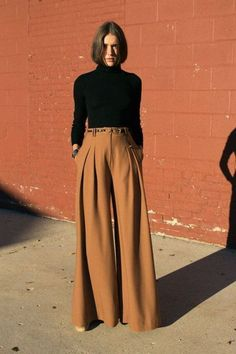 modest fashion 8 Secrets To Modest And Fashionable Dressing: How To Look Modest And Elegant - - A woman is wearing sandstone palazzo pants and a black turtleneck Source by Modest Clothing, Modest Outfits, Modest Fashion, Trendy Outfits, Fall Outfits, Cute Outfits, Fashion Outfits, Modest Pants, Fashion Ideas