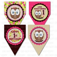 Items similar to Printable DIY Owl First Birthday Theme Decorative Pennants or Banner on Etsy Owl Themed Parties, Owl Birthday Parties, Birthday Ideas, Owl First Birthday, It's Your Birthday, Owl 1st Birthdays, How To Make Banners, As You Like, Party Planning