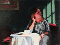 Original Art Painting Girl in an Italian Cafe Fine by Krystyna81