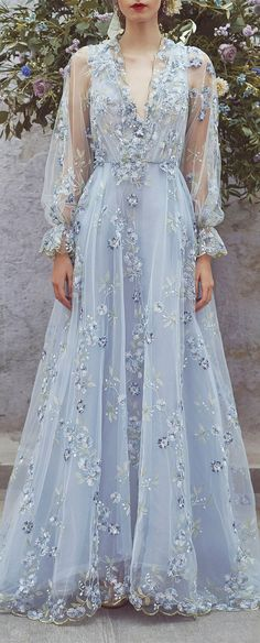 Charming Embroidered Tulle Prom Dress, V-Neck Long Sleeve Prom Dress, KX419
