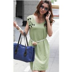 Green Women Fashion Gem Embedded With Belt Cotton Dresses One Size... ($9.50) via Polyvore