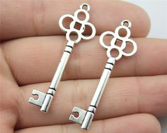 WYSIWYG 10pcs 46*15mm 2 Colors Antique Silver, Antique Bronze Plated Key Charms