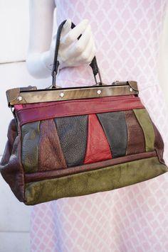 SAC BAG cabas Docteur Diligence Porte main CUIR Leather vintage VTG 70 preppY