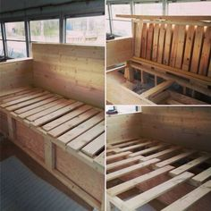 Couch Storage and and pull out bed! #skoolie #skoolieconversion #diy…