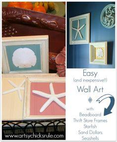 Simple Art with leftover beadboard, thrift store frames and starfish, sand dollars or seashells -artsychicksrule.com