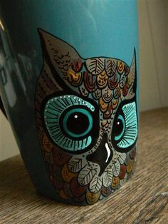 Large Blue handpainted mug with wise old owl by rickolte on Etsy, $36.00