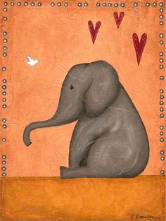Eli Elephant Canvas Reproduction