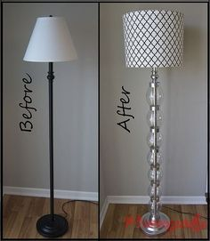 renowacja lampy: mój pomysł pomalowac nogę na czerwono lub inny intensywny kolor, abażur na coś delikatnego lub zostawić biały, dokleić kryształki, albo pomalowac abażur ala tifany farbami do szkła