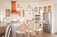 Bright and Airy Kitchen remodel! Shiplap, white, grey and copper. LOVE!