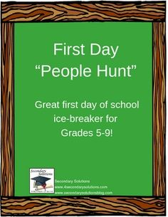 """First Day of School """"People Hunt"""" FREE"""