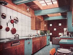 1956, Better Homes & Garden, Mid Century Kitchen in turquoise and brown. Love the Formica counters. I miss Formica. Here in CA, it is all tile counter tops. Sigh.