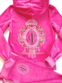 Juicy Couture Tiara Cameo Velour Hoodie Pants Pink Tracksuit