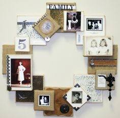 Wall Decor:  DIY Burlap and Canvas Family Heirloom Wreath ~ a beautiful way to display your family pictures.  Just imagine this project with baby photos, wedding photos - well, just about anything you want!