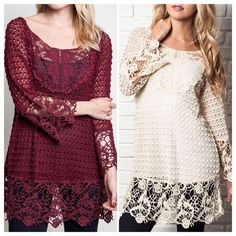 """BEAUTIFUL LACE TUNIC IN WINE OR CREME This top is exquisite! Feminine lace throughout and mini bell sleeves on this semi sheer stunner. Polyester/Cotton blend with a hint of spandex.                                                                       ♦️SMALL: bust 36"""" hips 43""""                                       ♦️MEDIUM: bust 38"""" hips 44""""                                  ♦️LARGE: bust 41"""" hips 46"""" tla2 Tops Tunics"""