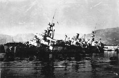 Scuttled French seaplane tender Commandant Teste, Toulon, France, date unknown