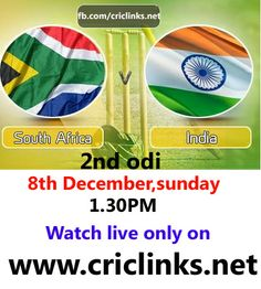 Sunday 8th December.2nd odi betwwen India vs south africa will be played at Durban. The South Africans are in a buoyant mood while the Indians need to get over the debacle at Bull-Ring.The spicy track at the Wanderers was something that the Indians did not look .India need to win to Alive the 3 matcg seris.match will be start 1.300 PM IST,1.00 PM PST...watch live action only on http://www.criclinks.net/
