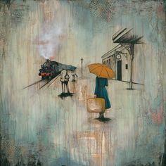 Woman on Train Platform, titled The Girl on the Platform, Limited Edition Giclee Print on canvas Wall Art Sets, Large Wall Art, Large Art, Abstract Canvas Art, Canvas Wall Art, Canvas Prints, Green Wall Decor, Train Platform, Rain Art