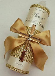 Gold Christening Candle
