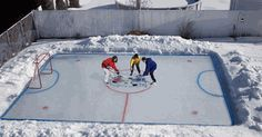 Make your own ice rink...thats too cool. I use to use tarps and water..lol. Outdoor Hockey Rink, Outdoor Skating Rink, Ice Hockey Rink, Backyard Ice Rink, Backyard Sports, Basement Plans, Grid Layouts, Backyard Makeover, Winter Fun