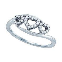 10KT White Gold 0.18CT DIAMOND HEART Ring