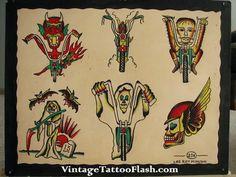 Lee Roy Minugh 1950's biker flash sheet from vintagetattooflash.com killscumspeedcult.com TAGS; traditional tattoo flash, flash art, biker flash tattoo, vintage biker tattoo, biker tattoo design, lee roy art, theo mindell, spider murphy, chopper, devil, satan, prison tattoos, real satan, demon, winged skull, vintage, biker clothing, biker art, killscum